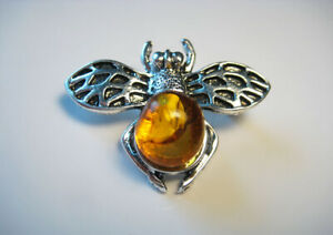 Natural baltic amber brooch insect honey amber  !!!