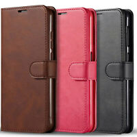 For Samsung Galaxy A10S Case, Premium Leather Wallet + Tempered Glass Protector