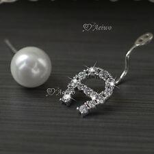 18k white gold gf crystal ear jacket pearl 925 silver stud earrings