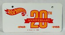 Hot Wheels 20th ANNIVERSARY BICYCLE LICENSE PLATE - UNIQUE ITEM!! MINT!