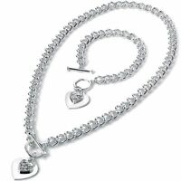 Two piece costume jewellery crystal heart charm t-bar curb necklace and bracelet