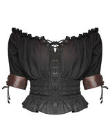 Punk Rave Womens Gypsy Top Black Brown Gothic Steampunk VTG Boho Victorian