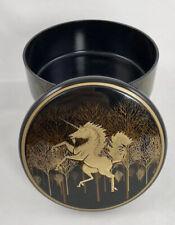 Vintage Lacquerware Round Box with black and gold Unicorn Decor - Otagiri