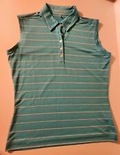 Nike Golf Women's Medium Teal Green White Stripe Dri-Fit Sleeveless Golf Shirt