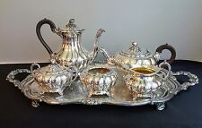6pc Oneida Community Silver Sheffield Melon Shape Coffee & Tea Service & Tray