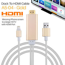 2M Apple Lightning Connect to HDMI TV AV Cable Adapter for iPad iPhone 5 5S 6 6S