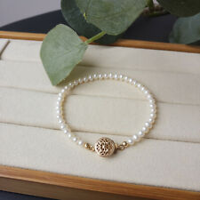 Charming AAA+ real natural  4-5mm akoya white  Pearl Bracelet 7.5-8' 14k
