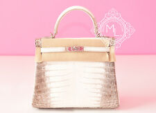 NEW HERMES BLANC HIMALAYAN KELLY 25 HIMALAYA WHITE CROCODILE BAG BIRKIN WHITE
