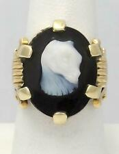 14k YELLOW GOLD CUSTOM MADE OVAL BLACK ONYX WHITE CARVED ANIMAL CAT RING