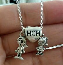 """Girl Boy Mom Daughter Son Heart Silver Charm Sterling Silver 18"""" Chain Necklace"""