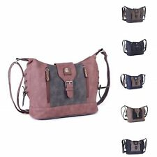 Ladies Faux Leather Travel Shoulder Bag Messenger Bag Two Tone Handbag M17659-1