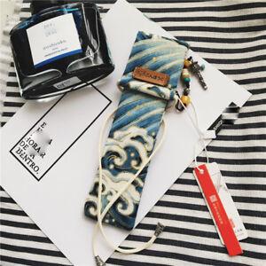 Japanese Sea Art Hokusai Great Wave Kanagawa Kimono Fountain Pen Case Bag Pouch