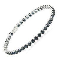 "Natural Blue Sapphire Tennis Bracelet in 14K White Gold, 8"""