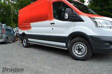 To Fit 2014+ Ford Transit LWB Van Stainless Side Bars Steps Tubes Skirts Running