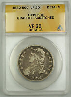 1832 Capped Bust Silver Half Dollar Coin 50c ANACS VF-20 Details