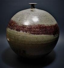 "Monumental Studio Pottery Weed Pot Spherical Bud Vase Signed Original Art 10.5"""