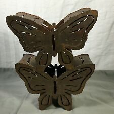 2  Lovely Rustic Outdoor Copper Metal Butterfly Tea Light Candle Holders Used