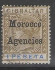 MOROCCO AGENCIES SG15 1899 1p BISTRE & ULRAMARINE USED