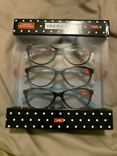 3 Pack Lulu Guinness Reading Glasses +2.00 Designer Comfort Spring Readers Dot