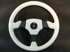 # ULTRA RARE / WHITE NARDI TORINO _ 3-SPOKE LEATHER SPORT STEERING WHEEL