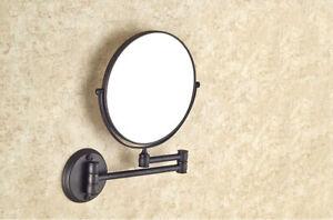 Black Bronze Makeup Mirror 1X 3X Magnifying Vanity Mirror Wall Mount Folding
