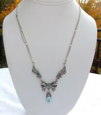 VINTAGE STERLING SILVER 925 MARCASITE NECKLACE WITH BLUE TOPAZ PENDANT