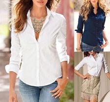 Moda Para mujeres Mangas Largas Camiseta Casual Blusa Camiseta Top de algodón botón suelto