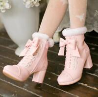 Japanese Style Women Thick Velvet Sweet Lolita Ankle Boots Bowknot Platform Sbox