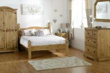 MEXICAN PINE CORONA BEDROOM SET DOUBLE BED, WARDROBE, BEDSIDE & CHEST OF DRAWERS