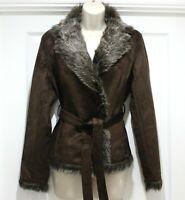 Ladies Faux Suede Brown Faux Fur Collar Belted Jacket Coat Size UK 8 10 12 14