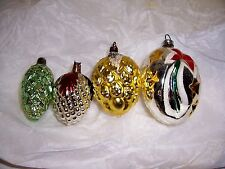 4 VTG OLD MERCURY GLASS CHRISTMAS PINE CONE TREE ORNAMENTS PAINTED STARS MICA