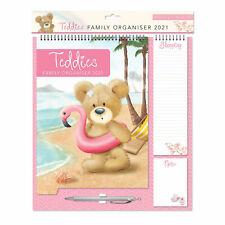 2021 Family Organiser Calendar - Shopping List, Memo Pad and Pen Teddy on Beach