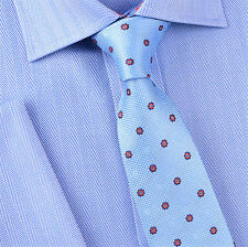 "Light Blue Polka Dot 3"" Skinny Woven Tie Red Daisy Floral Designer Party Fashion"