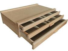 3 Drawers Artist Wood Box Art Pastel Pen Paint Brush Marker Crafts Storage Box
