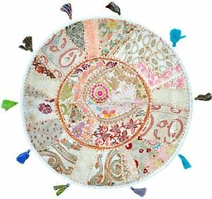 "18"" Round Throw Pillow Cover Footstool Floor Patchwork Embroidered Decor Cushion"