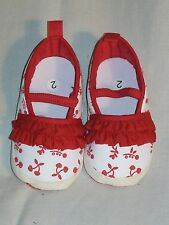 NEW ADORABLE BABY GIRL'S RED RUFFLED FLORAL BALLET CRIB SHOES SIZE 2