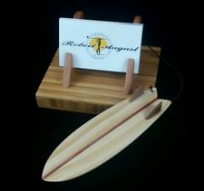 Fish Twin Fin Vintage Style Surfboard Business Card Holder Handcrafted