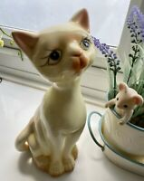 "**Vintage Retro Kitsch Cream Cat Ceramic Figurine 1960s 1970s 14""** Very Cute"