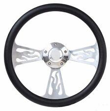1964 Ford Galaxie Black Vinyl & Flame Steering Wheel Full Boss Kit with Horn
