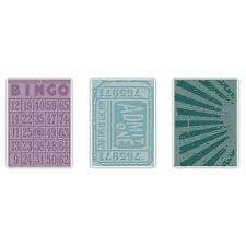 Sizzix Tim Holtz Alterations PLAYING GAMES SET Ticket EMBOSSING Texture Fades