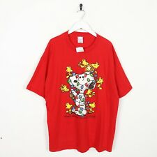 Vintage Snoopy Big Graphic Logo T Shirt Tee Red | XL