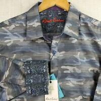 NEW ROBERT GRAHAM XL Tailored Fit Ice Camo Mens Flip Cuff Button Down Shirt $178