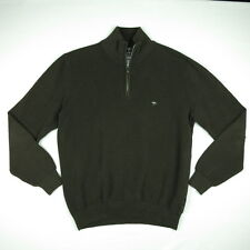 FYNCH-HATTON Men's Brown 1/4 Zip Pullover Jumper Superfine Cotton Large/L