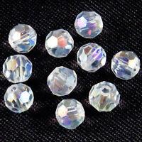 Lot de 30 perles à FACETTES 4mm en Cristal de Bohème Cristal AB