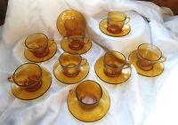8 Vintage Amber Glass Tea Cups! VERECO FRANCE & Indonesia Tea Cup & Saucer Sets