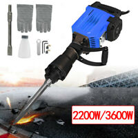 Electric 2200W/3600W Jack Hammer Concrete Demolition Breaker Punch 2Chisel Bit.