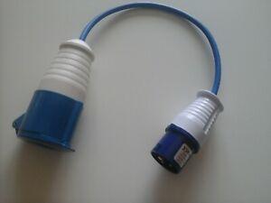 16 AMP Plug To 32 AMP Socket 240V Blue Changeover Lead.