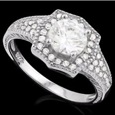 DIAMOND HALO ENGAGEMENT RING SILVER WHITE GOLD LOOK   F- IF 1.60 CWT ART DECO