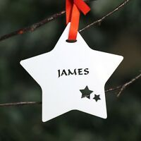 Personalised White Star Christmas Tree Bauble Festive Decoration Ornament .o.