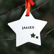 Personalised White Christmas Tree Star Bauble Festive Decoration Ornament .o.